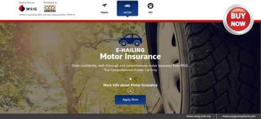 MSIG E-Hailing Motor Insurance Online Instant Purchase 181023A